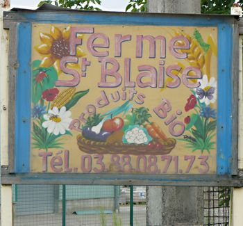 Welcome board Bio Farm St Blaise - owner Maurice Meyer